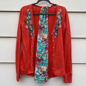 Miss Me floral embroidered peekaboo cardigan